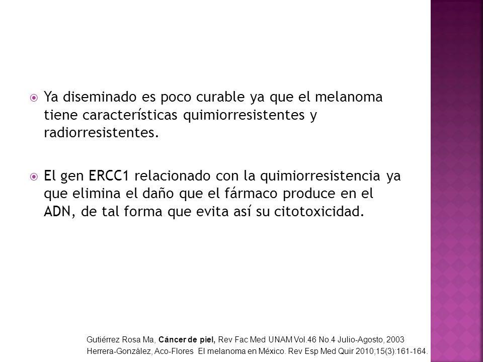 Ya diseminado es poco curable ya que el melanoma tiene características quimiorresistentes y radiorresistentes. El gen ERCC1 relacionado con la quimior