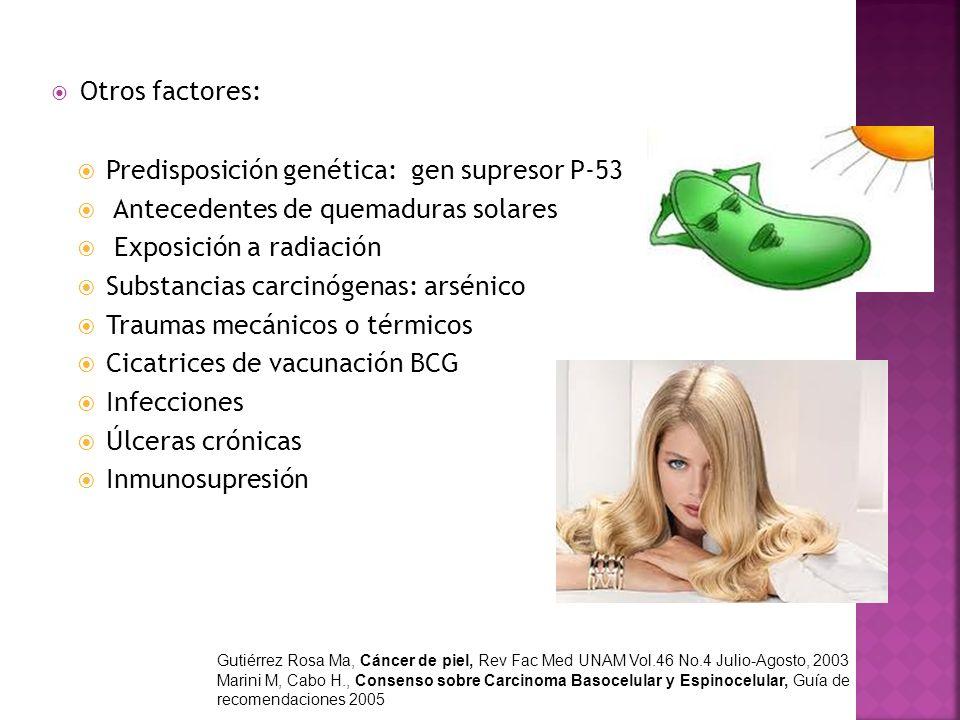 Otros factores: Predisposición genética: gen supresor P-53 Antecedentes de quemaduras solares Exposición a radiación Substancias carcinógenas: arsénic