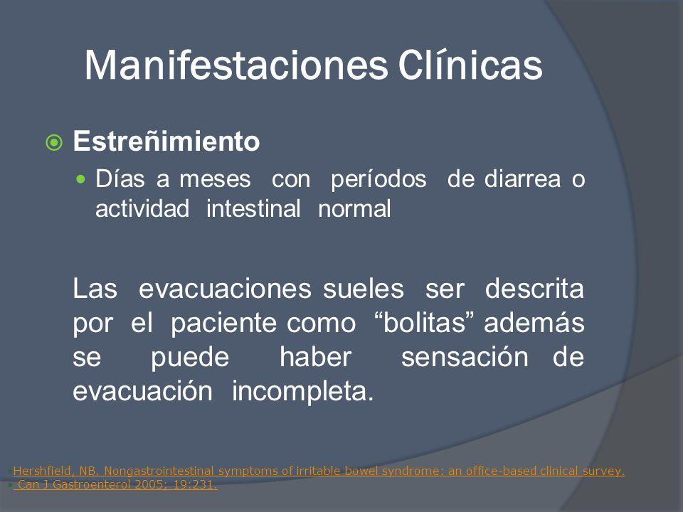 Manifestaciones Clínicas Estreñimiento Días a meses con períodos de diarrea o actividad intestinal normal Las evacuaciones sueles ser descrita por el