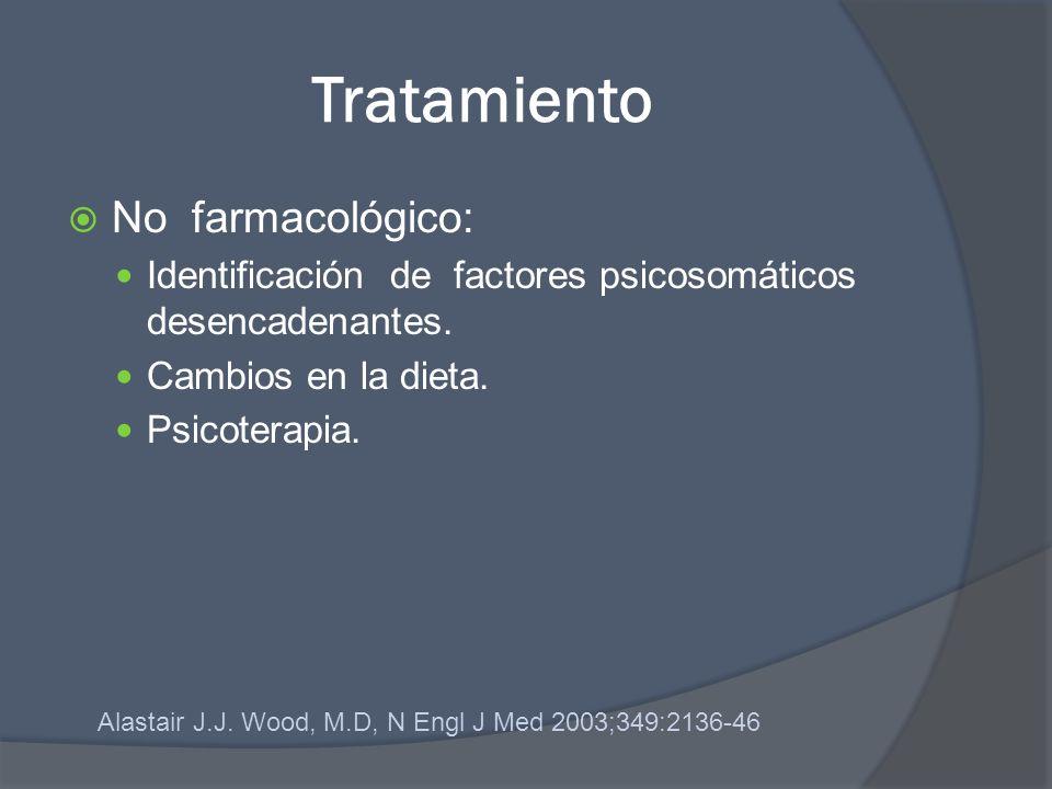 Tratamiento No farmacológico: Identificación de factores psicosomáticos desencadenantes. Cambios en la dieta. Psicoterapia. Alastair J.J. Wood, M.D, N