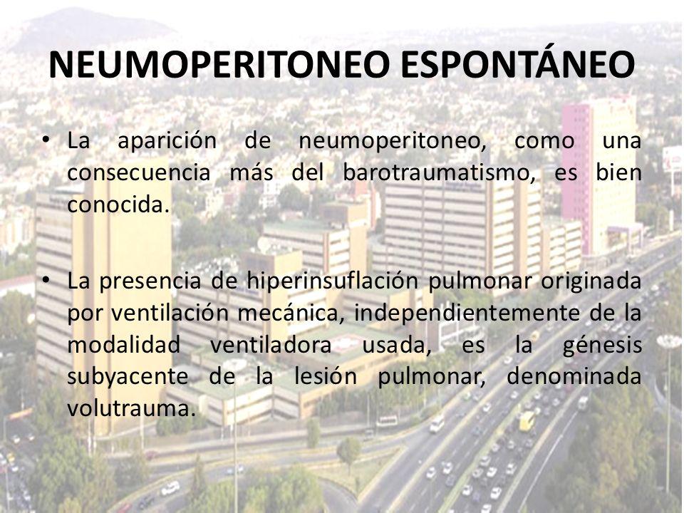 La aparición de neumoperitoneo, como una consecuencia más del barotraumatismo, es bien conocida. La presencia de hiperinsuflación pulmonar originada p