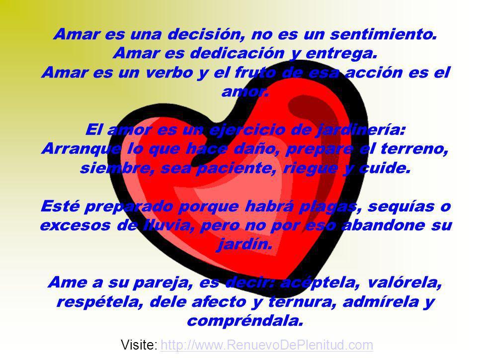 Amar es una decisión, no es un sentimiento.Amar es dedicación y entrega.