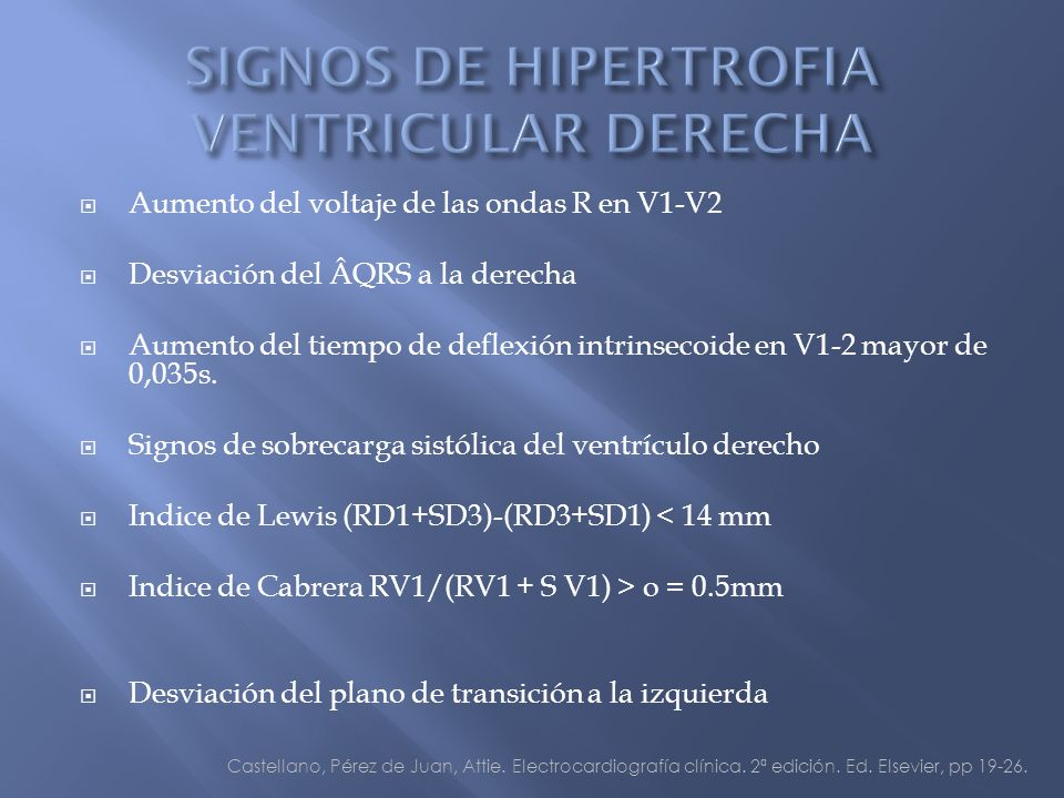 Aumento del voltaje de las ondas R en V1-V2 Desviación del ÂQRS a la derecha Aumento del tiempo de deflexión intrinsecoide en V1-2 mayor de 0,035s.
