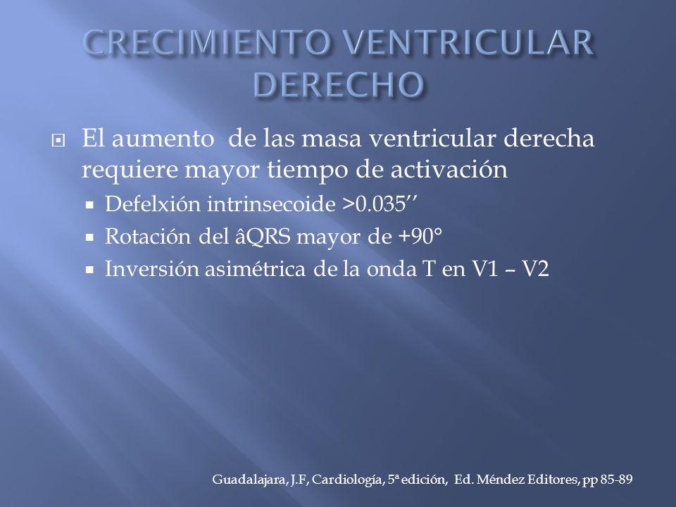 El aumento de las masa ventricular derecha requiere mayor tiempo de activación Defelxión intrinsecoide >0.035 Rotación del âQRS mayor de +90° Inversión asimétrica de la onda T en V1 – V2 Guadalajara, J.F, Cardiología, 5ª edición, Ed.