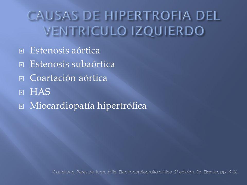 Estenosis aórtica Estenosis subaórtica Coartación aórtica HAS Miocardiopatía hipertrófica Castellano, Pérez de Juan, Attie.