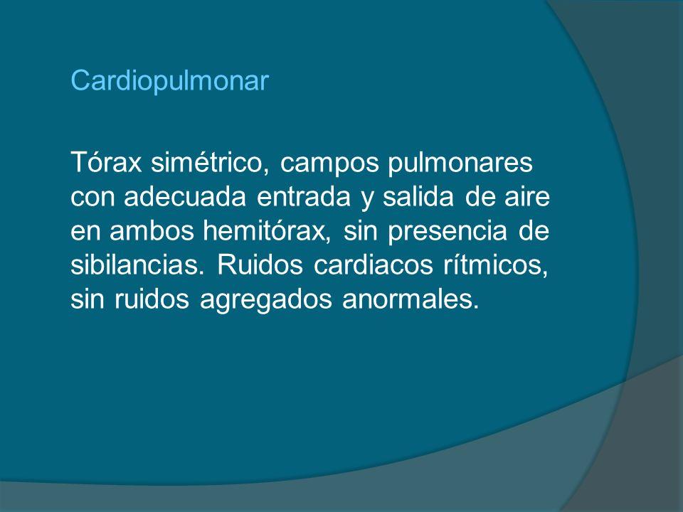 Cardiopulmonar Tórax simétrico, campos pulmonares con adecuada entrada y salida de aire en ambos hemitórax, sin presencia de sibilancias. Ruidos cardi