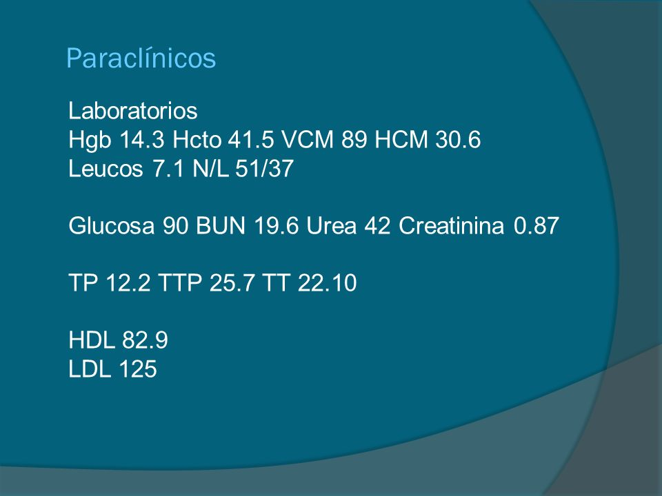 Paraclínicos Laboratorios Hgb 14.3 Hcto 41.5 VCM 89 HCM 30.6 Leucos 7.1 N/L 51/37 Glucosa 90 BUN 19.6 Urea 42 Creatinina 0.87 TP 12.2 TTP 25.7 TT 22.1