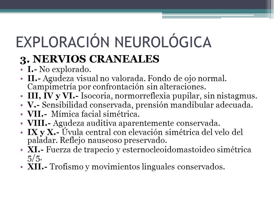 3.NERVIOS CRANEALES I.- No explorado. II.- Agudeza visual no valorada.