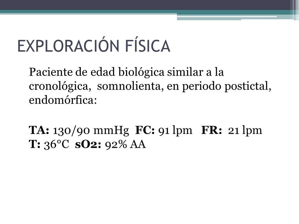EXPLORACIÓN FÍSICA Paciente de edad biológica similar a la cronológica, somnolienta, en periodo postictal, endomórfica: TA: 130/90 mmHg FC: 91 lpm FR: 21 lpm T: 36°C sO2: 92% AA