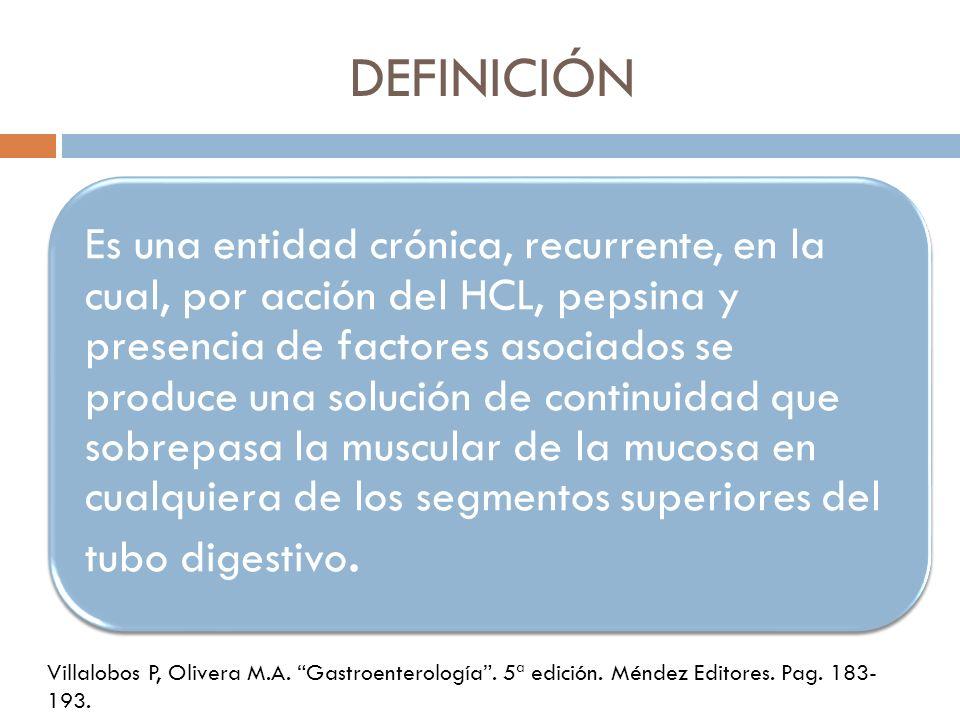 DEFINICIÓN Es una entidad crónica, recurrente, en la cual, por acción del HCL, pepsina y presencia de factores asociados se produce una solución de co