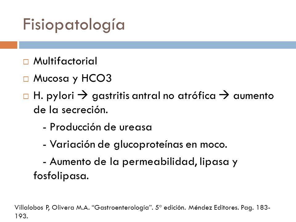 Fisiopatología Multifactorial Mucosa y HCO3 H. pylori gastritis antral no atrófica aumento de la secreción. - Producción de ureasa - Variación de gluc