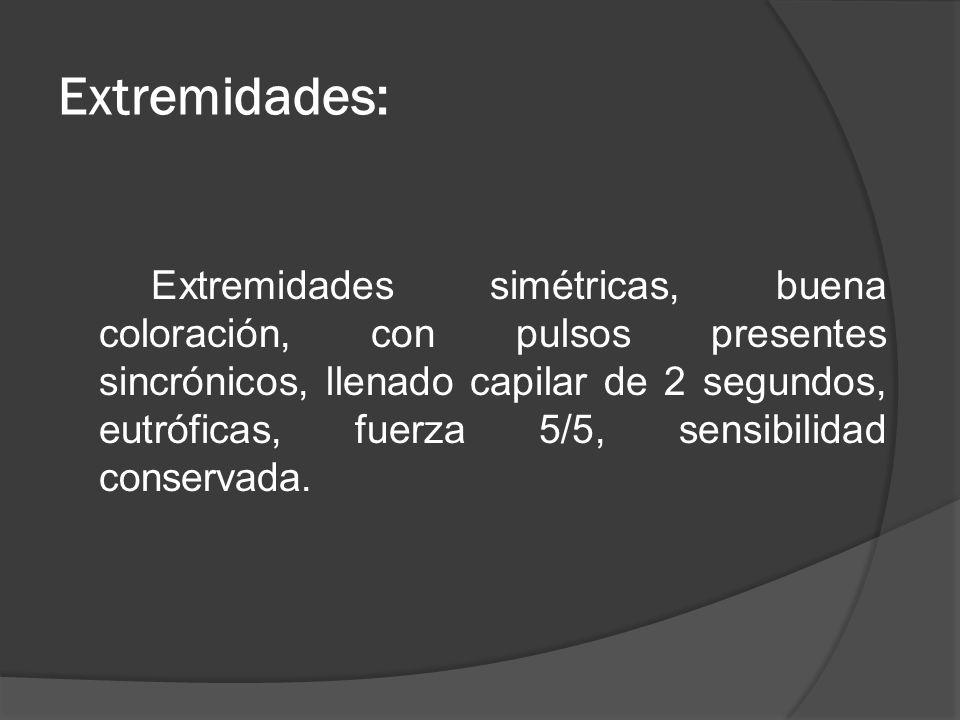 Extremidades: Extremidades simétricas, buena coloración, con pulsos presentes sincrónicos, llenado capilar de 2 segundos, eutróficas, fuerza 5/5, sens