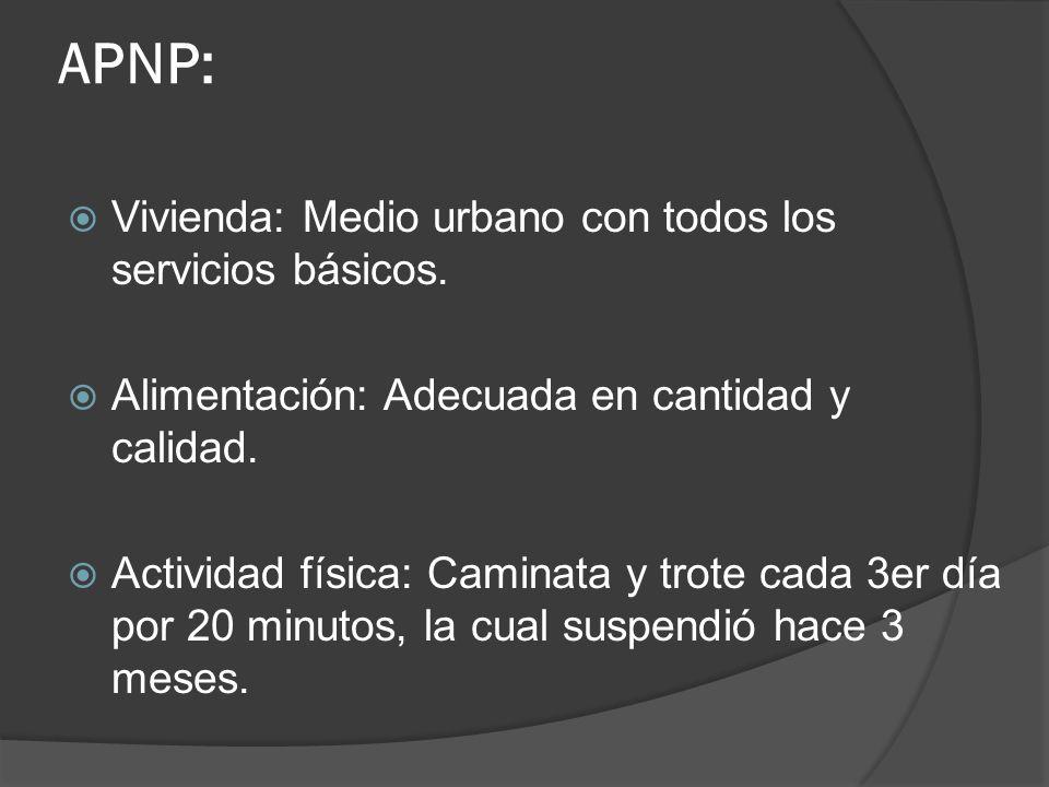 APNP: Vivienda: Medio urbano con todos los servicios básicos. Alimentación: Adecuada en cantidad y calidad. Actividad física: Caminata y trote cada 3e