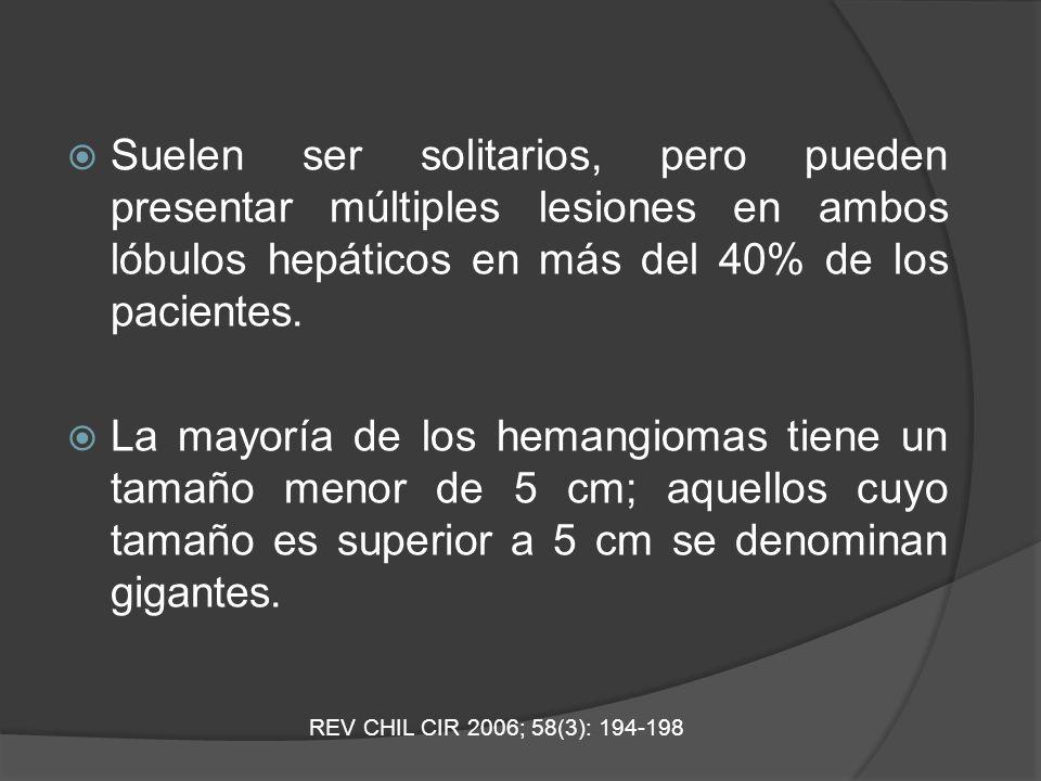 Suelen ser solitarios, pero pueden presentar múltiples lesiones en ambos lóbulos hepáticos en más del 40% de los pacientes. La mayoría de los hemangio