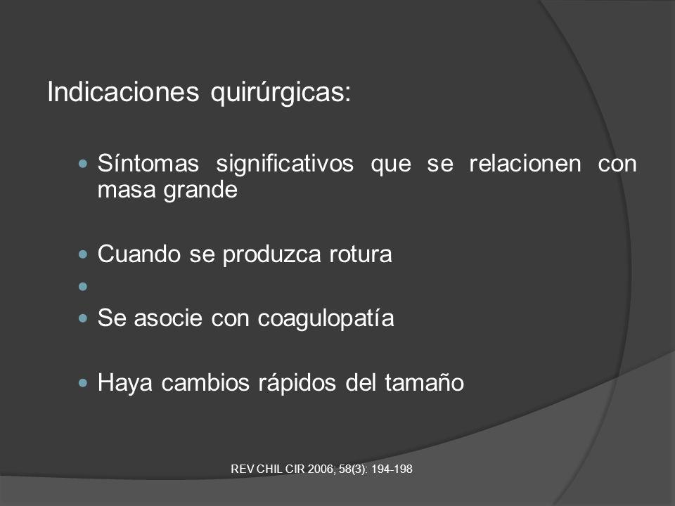 Indicaciones quirúrgicas: Síntomas significativos que se relacionen con masa grande Cuando se produzca rotura Se asocie con coagulopatía Haya cambios
