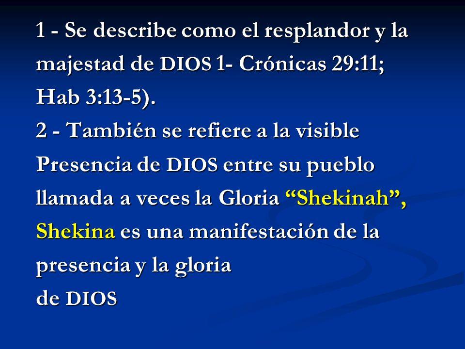 1 - Se describe como el resplandor y la majestad de DIOS 1- Crónicas 29:11; Hab 3:13-5). 2 - También se refiere a la visible Presencia de DIOS entre s