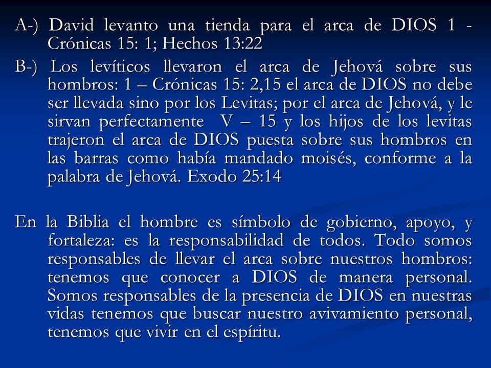 A-) David levanto una tienda para el arca de DIOS 1 - Crónicas 15: 1; Hechos 13:22 B-) Los levíticos llevaron el arca de Jehová sobre sus hombros: 1 –
