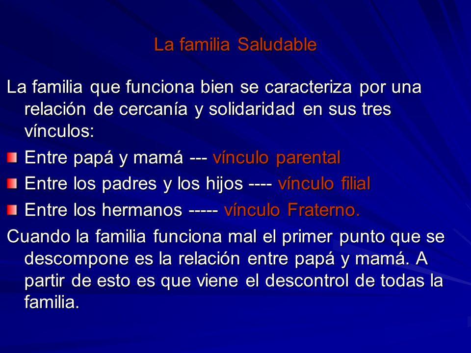 La familia Saludable La familia que funciona bien se caracteriza por una relación de cercanía y solidaridad en sus tres vínculos: Entre papá y mamá --