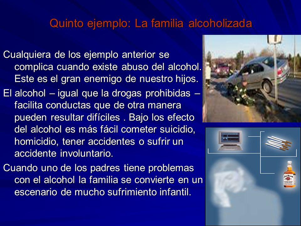 Quinto ejemplo: La familia alcoholizada Cualquiera de los ejemplo anterior se complica cuando existe abuso del alcohol. Este es el gran enemigo de nue