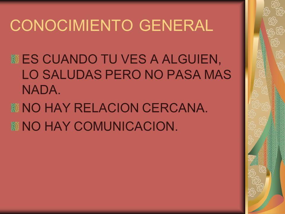 CONOCIMIENTO GENERAL ES CUANDO TU VES A ALGUIEN, LO SALUDAS PERO NO PASA MAS NADA. NO HAY RELACION CERCANA. NO HAY COMUNICACION.