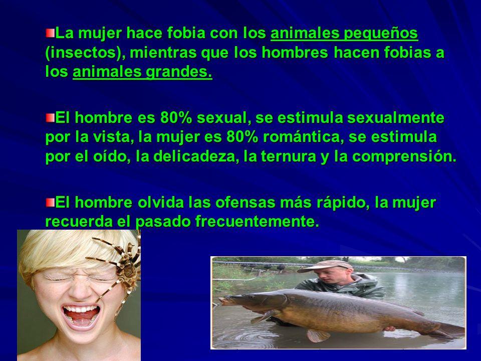 La mujer hace fobia con los animales pequeños (insectos), mientras que los hombres hacen fobias a los animales grandes. El hombre es 80% sexual, se es