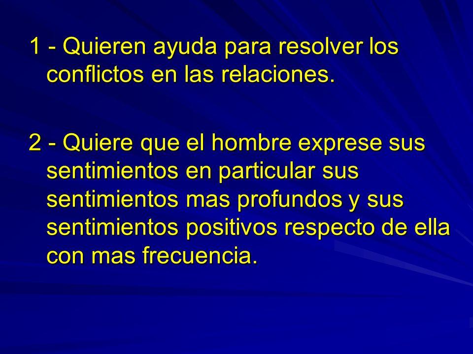 1 - Quieren ayuda para resolver los conflictos en las relaciones. 2 - Quiere que el hombre exprese sus sentimientos en particular sus sentimientos mas