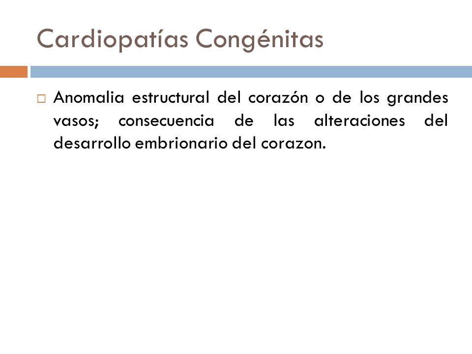 Cardiopatías Congénitas Anomalia estructural del corazón o de los grandes vasos; consecuencia de las alteraciones del desarrollo embrionario del coraz