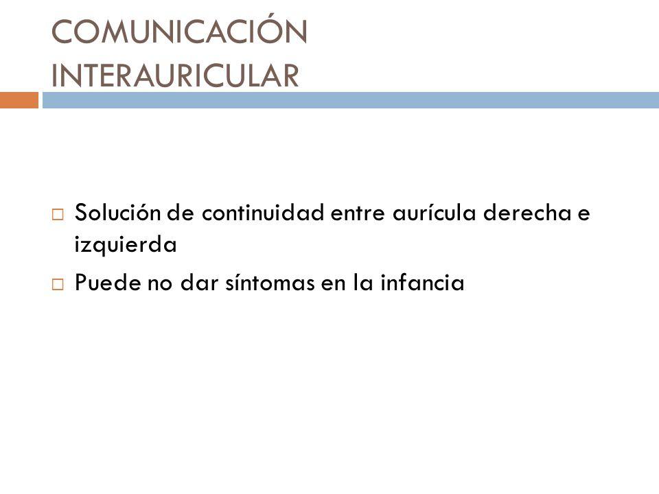 COMUNICACIÓN INTERAURICULAR Solución de continuidad entre aurícula derecha e izquierda Puede no dar síntomas en la infancia