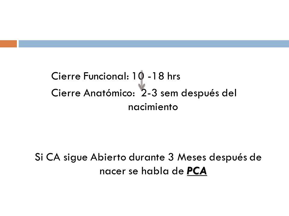 Cierre Funcional: 10 -18 hrs Cierre Anatómico: 2-3 sem después del nacimiento PCA Si CA sigue Abierto durante 3 Meses después de nacer se habla de PCA