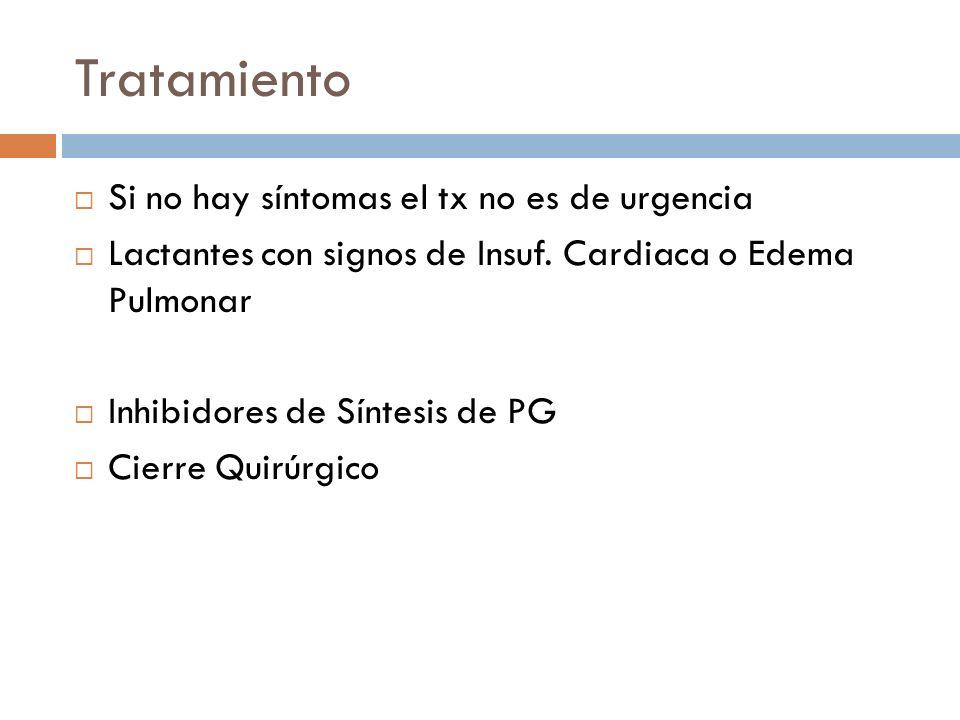 Tratamiento Si no hay síntomas el tx no es de urgencia Lactantes con signos de Insuf. Cardiaca o Edema Pulmonar Inhibidores de Síntesis de PG Cierre Q