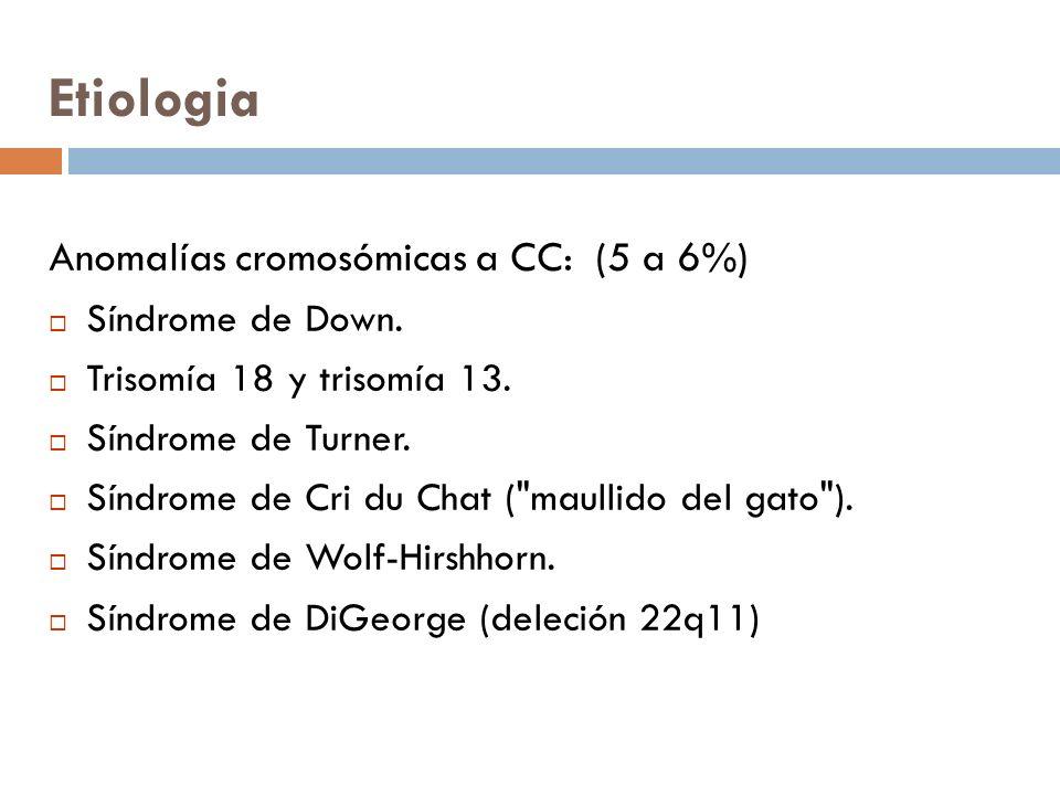 Etiologia Anomalías cromosómicas a CC: (5 a 6%) Síndrome de Down. Trisomía 18 y trisomía 13. Síndrome de Turner. Síndrome de Cri du Chat (