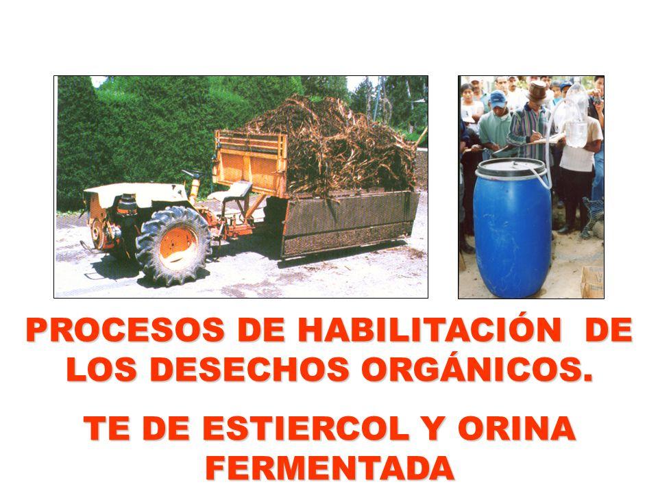 PROCESOS DE HABILITACIÓN DE LOS DESECHOS ORGÁNICOS. TE DE ESTIERCOL Y ORINA FERMENTADA