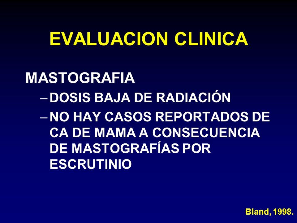 EVALUACION CLINICA MASTOGRAFIA –DOSIS BAJA DE RADIACIÓN –NO HAY CASOS REPORTADOS DE CA DE MAMA A CONSECUENCIA DE MASTOGRAFÍAS POR ESCRUTINIO Bland, 19