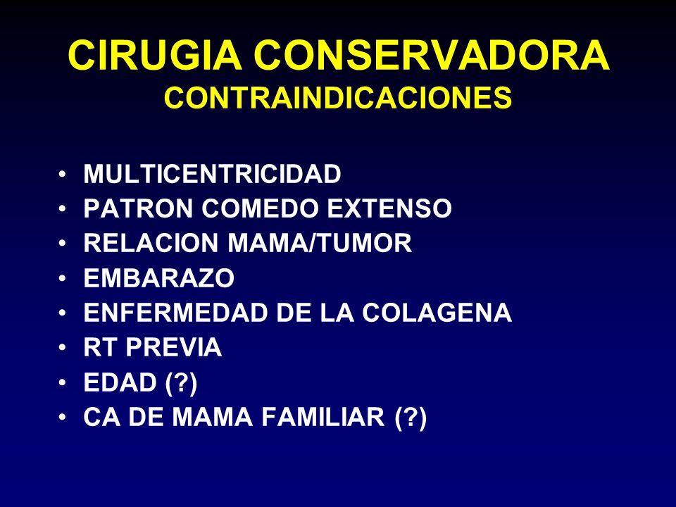 CIRUGIA CONSERVADORA CONTRAINDICACIONES MULTICENTRICIDAD PATRON COMEDO EXTENSO RELACION MAMA/TUMOR EMBARAZO ENFERMEDAD DE LA COLAGENA RT PREVIA EDAD (