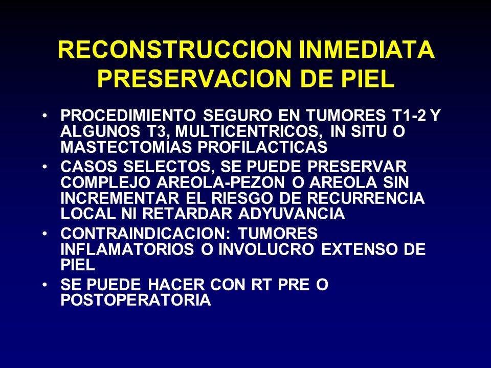 RECONSTRUCCION INMEDIATA PRESERVACION DE PIEL PROCEDIMIENTO SEGURO EN TUMORES T1-2 Y ALGUNOS T3, MULTICENTRICOS, IN SITU O MASTECTOMIAS PROFILACTICAS