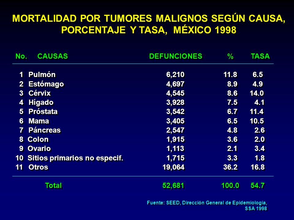 No. CAUSAS DEFUNCIONES %TASA 1 Pulmón 6,210 11.8 6.5 2 Estómago 4,697 8.9 4.9 3 Cérvix 4,545 8.6 14.0 4 Hígado 3,928 7.5 4.1 5 Próstata 3,542 6.7 11.4