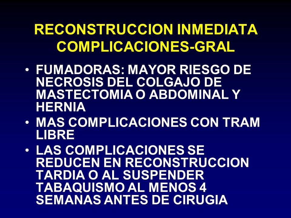RECONSTRUCCION INMEDIATA COMPLICACIONES-GRAL FUMADORAS: MAYOR RIESGO DE NECROSIS DEL COLGAJO DE MASTECTOMIA O ABDOMINAL Y HERNIA MAS COMPLICACIONES CO