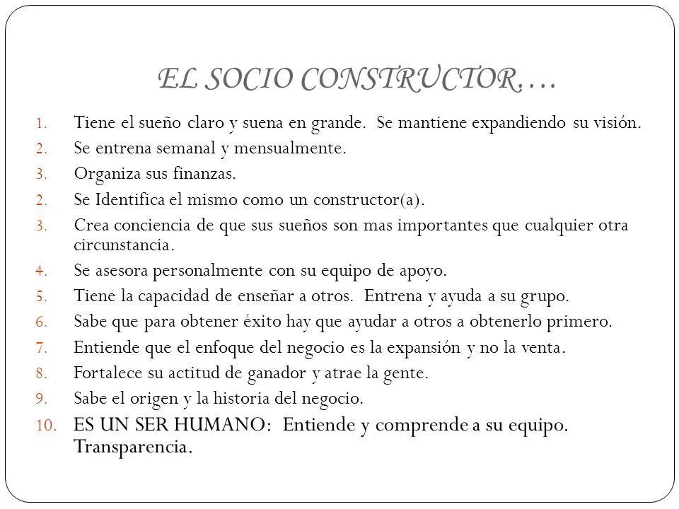 EL SOCIO CONSTRUCTOR….1. Tiene el sueño claro y suena en grande.