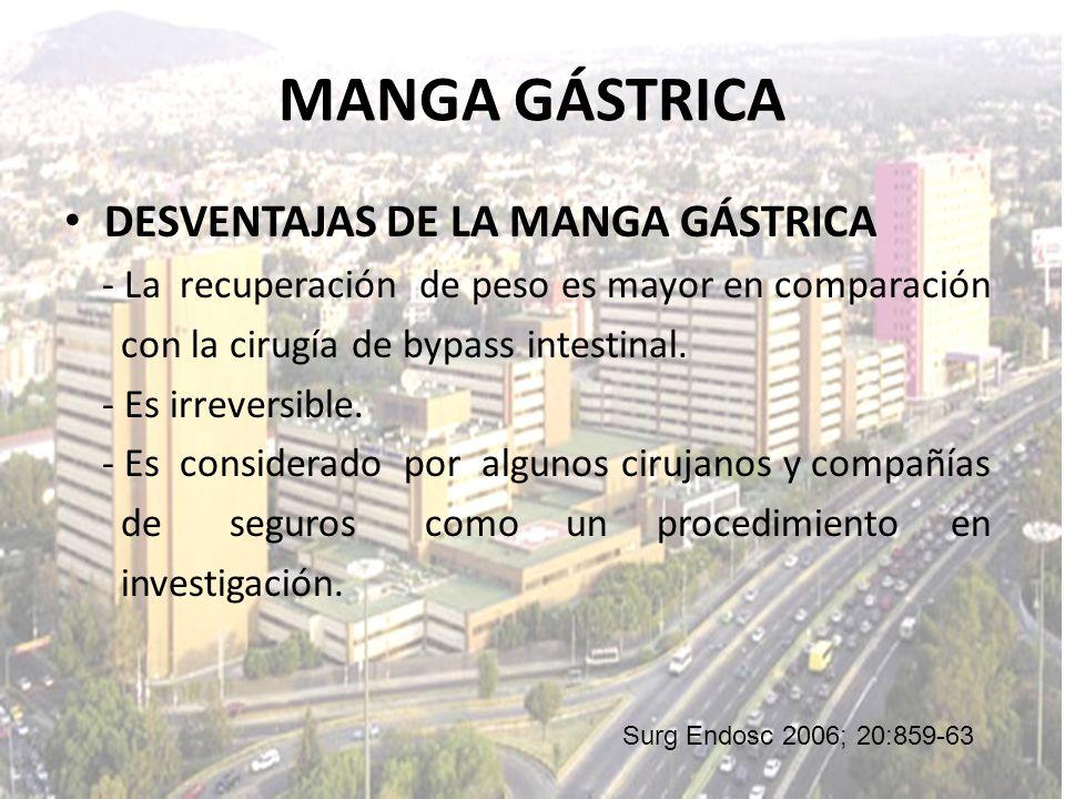 MANGA GÁSTRICA DESVENTAJAS DE LA MANGA GÁSTRICA - La recuperación de peso es mayor en comparación con la cirugía de bypass intestinal. - Es irreversib