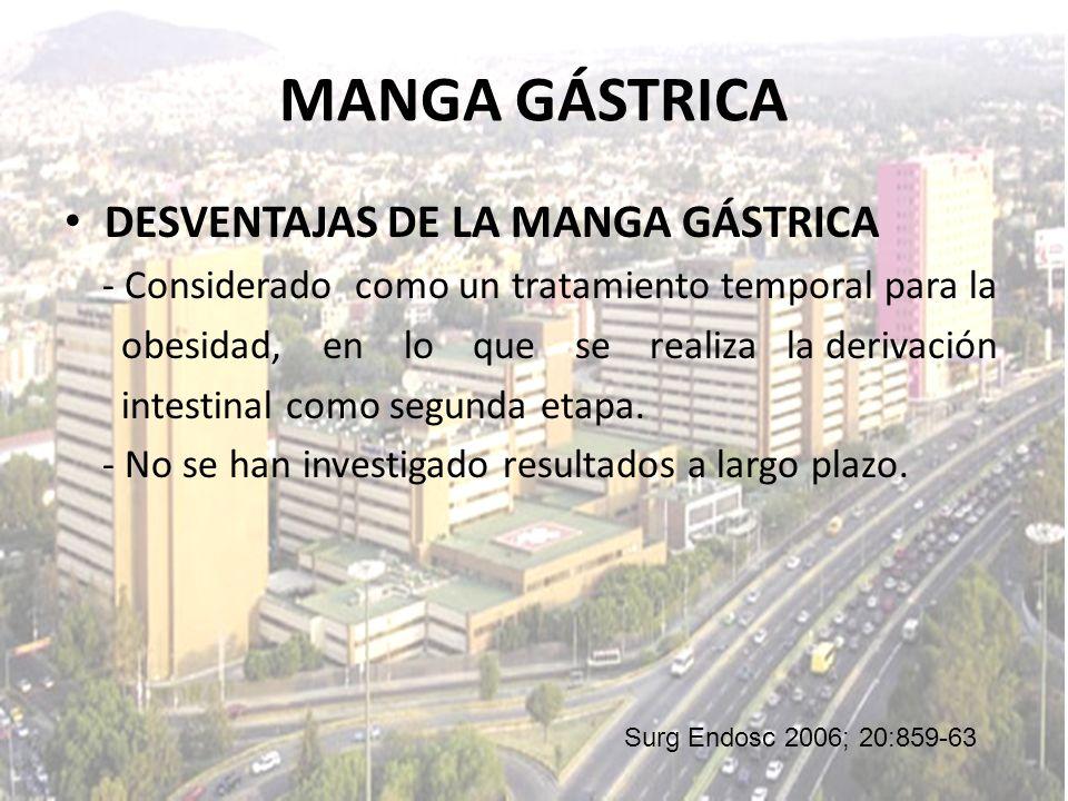 MANGA GÁSTRICA DESVENTAJAS DE LA MANGA GÁSTRICA - Considerado como un tratamiento temporal para la obesidad, en lo que se realiza la derivación intest