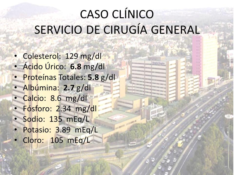 Colesterol: 129 mg/dl Ácido Úrico: 6.8 mg/dl Proteínas Totales: 5.8 g/dl Albúmina: 2.7 g/dl Calcio: 8.6 mg/dl Fósforo: 2.34 mg/dl Sodio: 135 mEq/L Pot