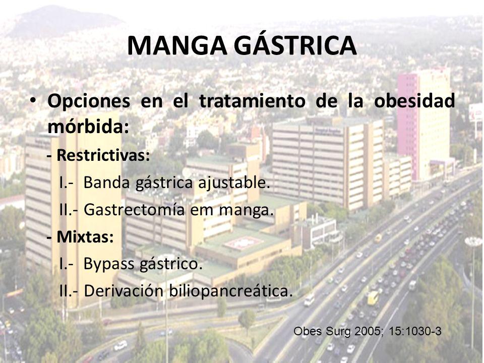 Opciones en el tratamiento de la obesidad mórbida: - Restrictivas: I.- Banda gástrica ajustable. II.- Gastrectomía em manga. - Mixtas: I.- Bypass gást