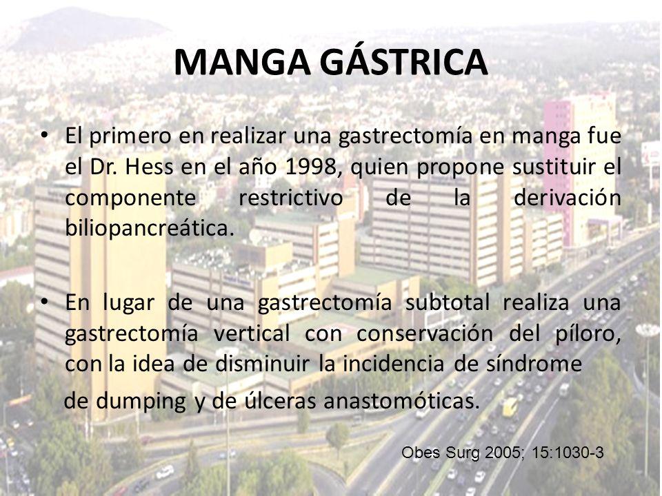 MANGA GÁSTRICA El primero en realizar una gastrectomía en manga fue el Dr. Hess en el año 1998, quien propone sustituir el componente restrictivo de l