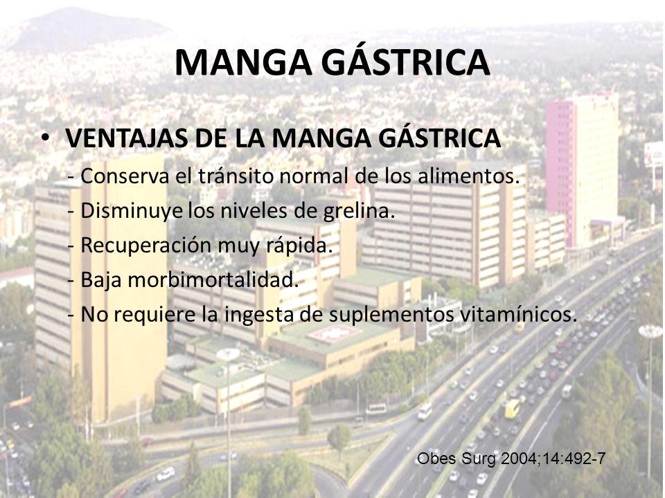 MANGA GÁSTRICA VENTAJAS DE LA MANGA GÁSTRICA - Conserva el tránsito normal de los alimentos. - Disminuye los niveles de grelina. - Recuperación muy rá