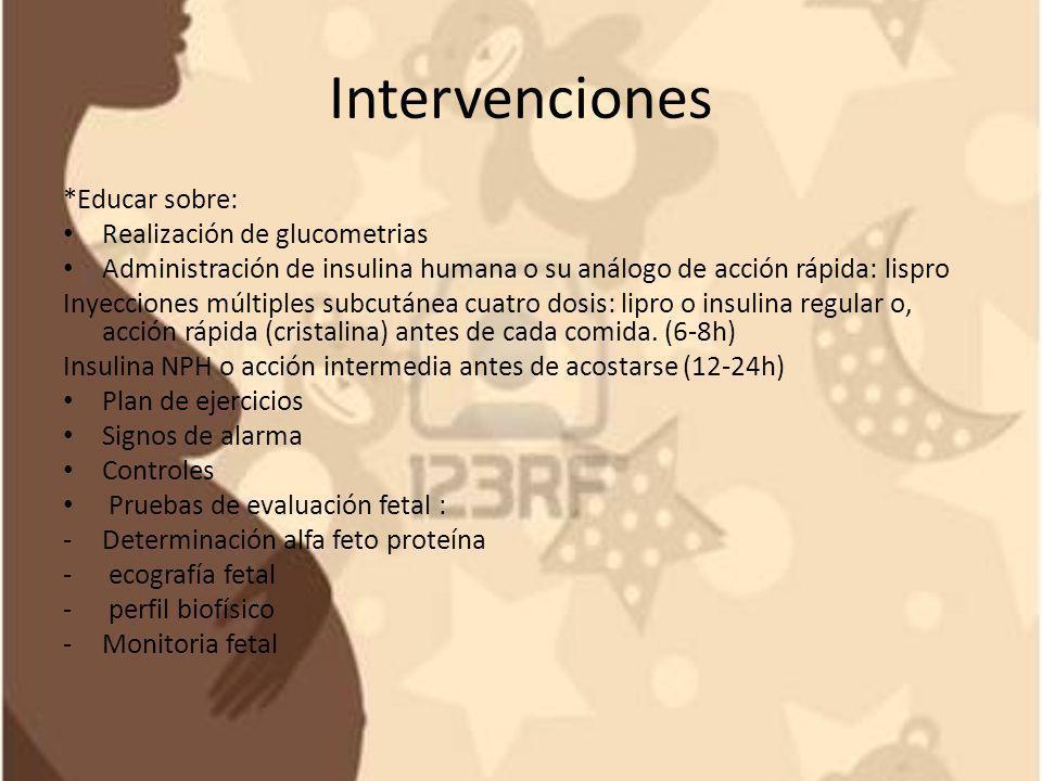 Intervenciones *Educar sobre: Realización de glucometrias Administración de insulina humana o su análogo de acción rápida: lispro Inyecciones múltiple
