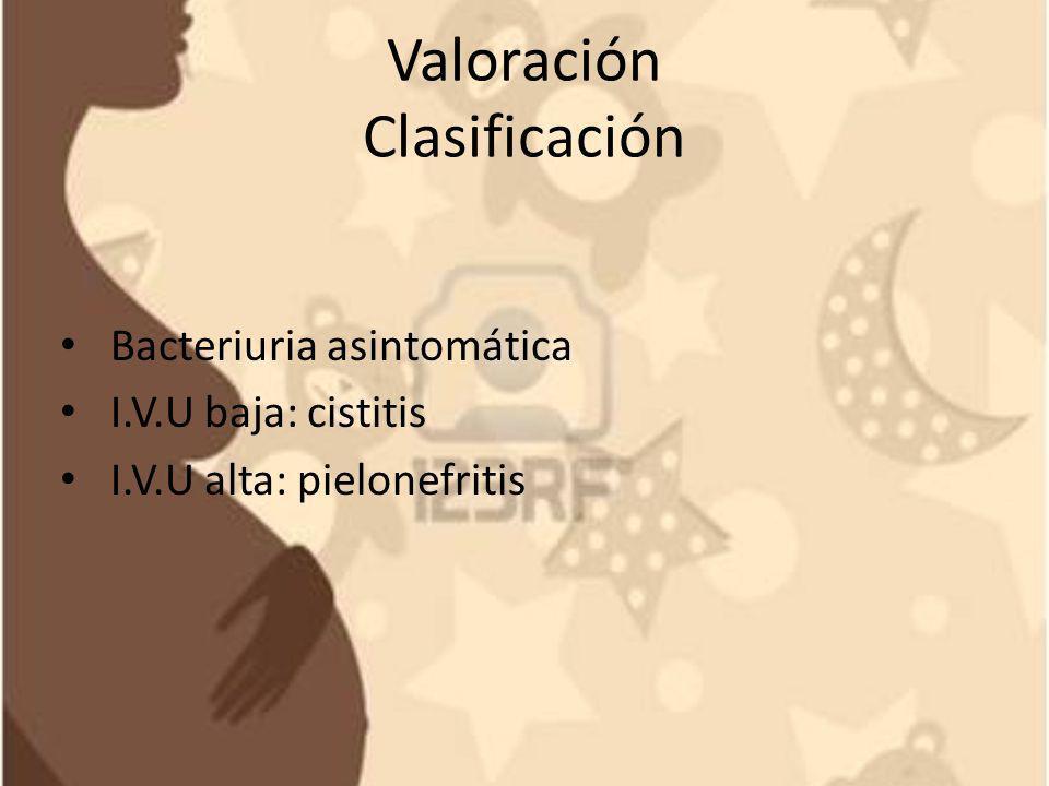 Valoración Clasificación Bacteriuria asintomática I.V.U baja: cistitis I.V.U alta: pielonefritis