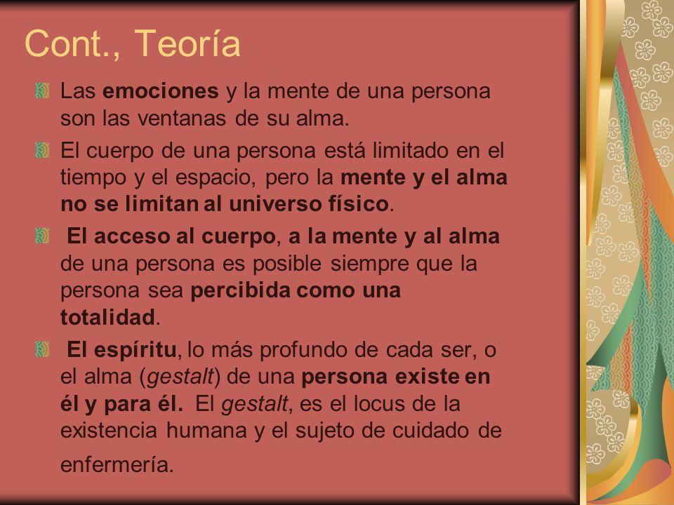 Cont., Teoría Las emociones y la mente de una persona son las ventanas de su alma. El cuerpo de una persona está limitado en el tiempo y el espacio, p