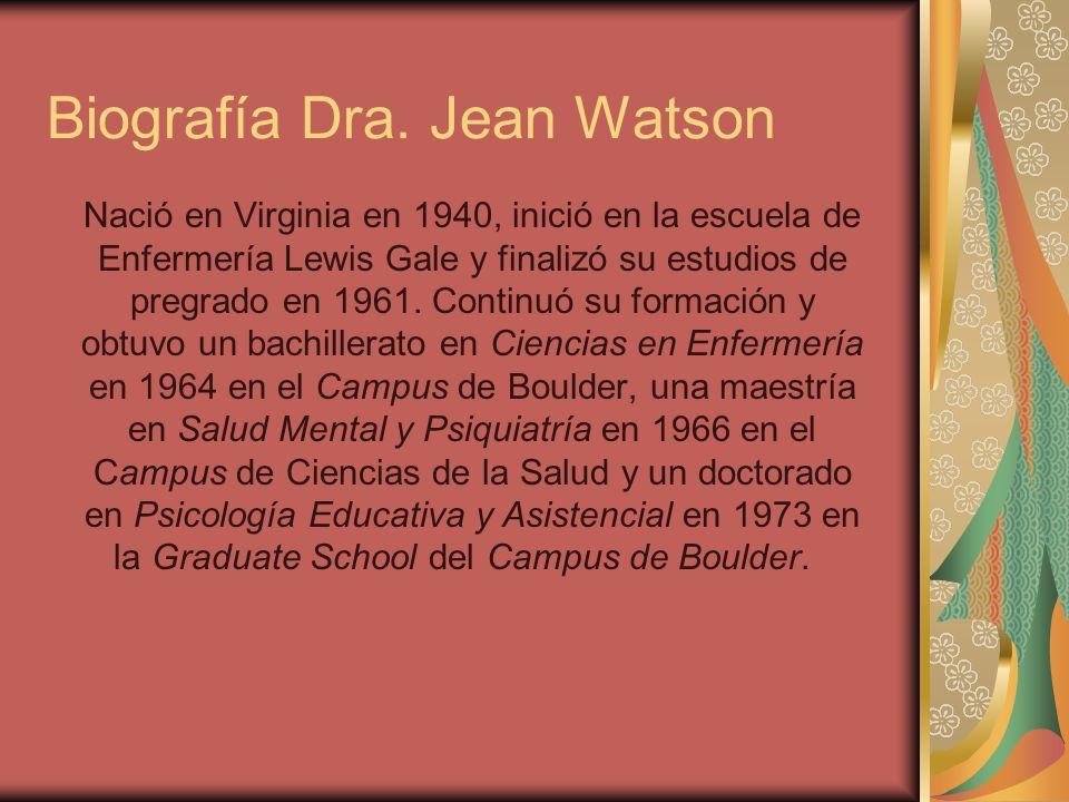 Biografía Dra. Jean Watson Nació en Virginia en 1940, inició en la escuela de Enfermería Lewis Gale y finalizó su estudios de pregrado en 1961. Contin