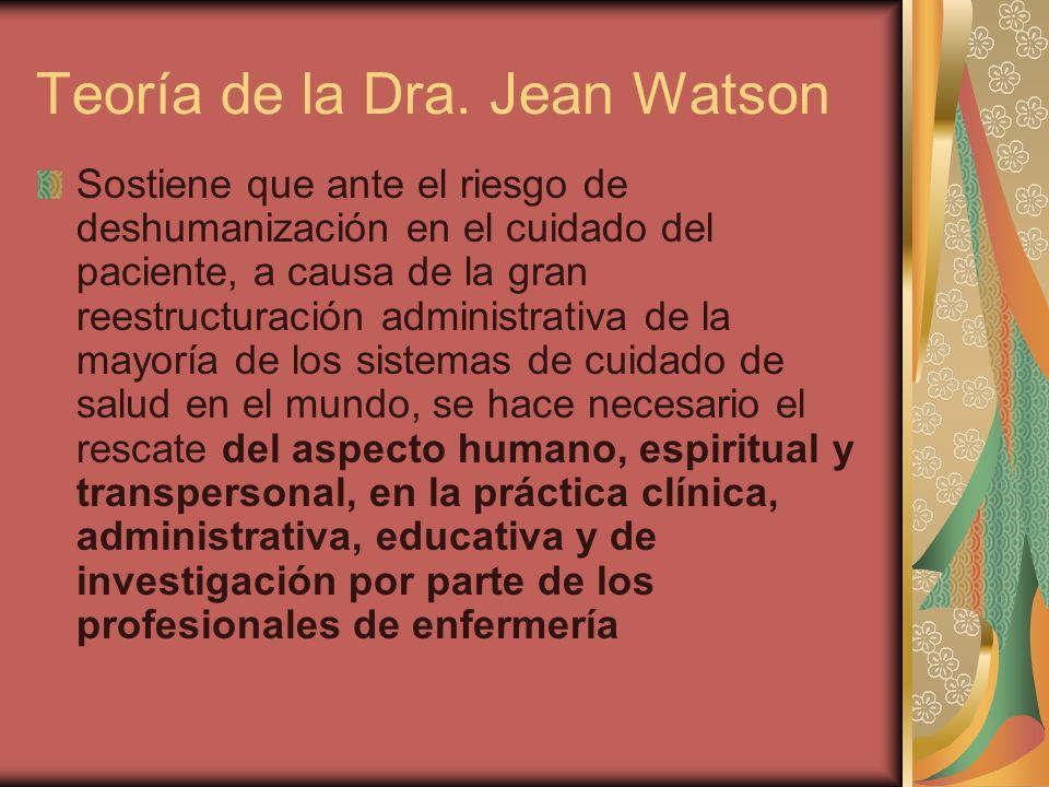 Teoría de la Dra. Jean Watson Sostiene que ante el riesgo de deshumanización en el cuidado del paciente, a causa de la gran reestructuración administr
