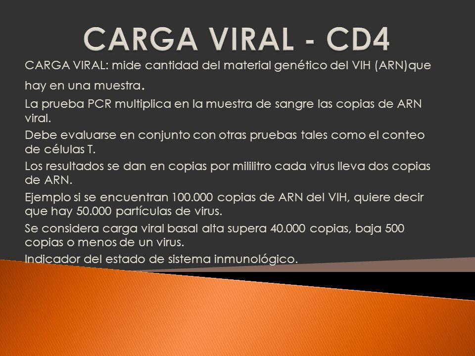 Cuando el conteo de células CD4 es alto, la carga viral es baja.